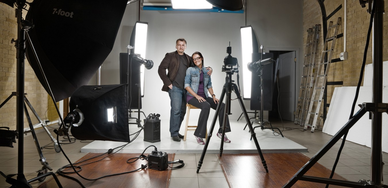 man and woman in a modern photo studio